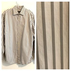 BCBG Maxazria Slim Fit Gray Striped Dress Shirt